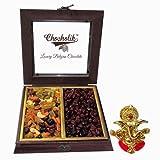 Chocholik Beautiful Wooden Box With Cocktail Dry Fruit & Cranberry With Ganesha Idol - Chocholik Dry Fruits