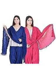 Kalrav Solid Blue And Light Pink Cotton Dupatta Combo
