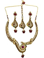 Exotic India Faux Ruby And Emerald Peacock Necklace Set With Earrings And Mang Tika - Copper Alloy W