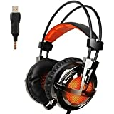 GW SADES AW30 Wired USB Stereo Gaming Headset Over Ear Headphones With Mic Bass Vibration Volume Control LED Lights...