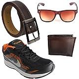 Elligator Stylish Black & Orange Sports Shoes With SD Brown Wallet,Trim Brown Belt & Wayfarer Combo (ELSH1439)