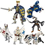 Papo Blue King Richard and Crusade Knights Set: Blue King Richard, King Richard's Horse Blue, Blue Crusader, Blue Crusader's Horse, Hospitaller Knight/w sword Crusader With Red Helmet