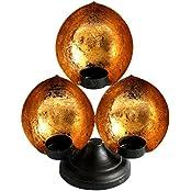 Lusso Mora Gold Leaf Tealight Candle Holder (22.09 Cm X 10.6 Cm X 26.67 Cm, Golden & Black)