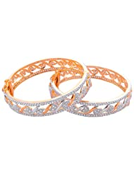 Sapna Jewellery CZ Studded With Gold And Silver Polish Bangle For Women's - B00QF77N70