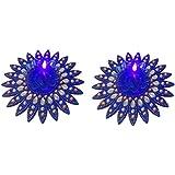 Bold N Elegant Blue Stone Studded Handcrafted Designer Diya Combo With LED Lights - Set Of 2