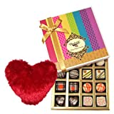 Creative Combination Of Dark And White Truffles And Chocolate Box With Heart Pillow - Chocholik Belgium Chocolates