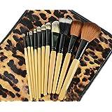 Drq Pro 12pcs Makeup Brushes Set Powder Foundation Eyeshadow Eyeliner Lip Brush Tool & Leopard Bag