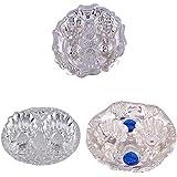 GS MUSEUM Silver Plated Rani Kumkum Plate, Silver Plated Oval Kumkum Plate And Silver Plated Roli Chawal Blue...