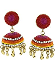 The Jewelbox Vibrant Thread Red Pink Yellow Orange Antique Gold Plated Jhumki Earring For Women