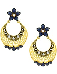 The Jewelbox Filigree Flower Chaand Bali Sapphire Blue American Diamond CZ Gold Plated Earring For Women