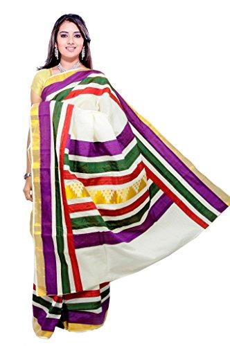 FASHIONKIOSKS Kalyani Cream Cotton Kasavu Kerala Saree With Lace Work And GOLD BLOUSE