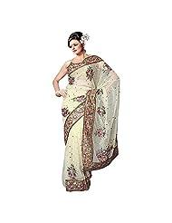 Aksh Fashion Women's Multicolor Faux Georgette Patch Work Saree