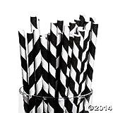 Black Paper Striped Straws (24 Pack) PaperBlack Paper Striped Straws (24 Pack) Paper