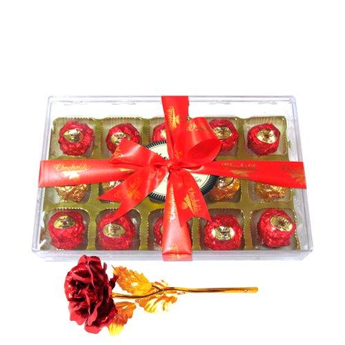 Nicely Wrapped Chocolates With 24k Red Gold Rose - Chocholik Luxury Chocolates