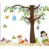 150 X134cm Nursery Forest Animals Birds Fox Squirrel Mushrooms Trees Wall Art Stickers Decal For Nursery Home...
