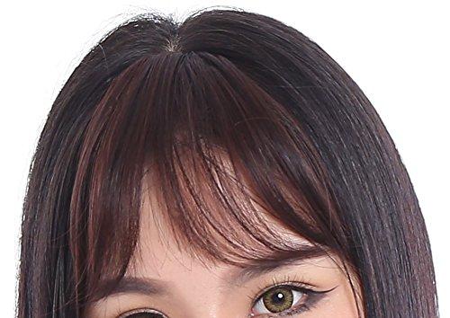 PECO(ペコ) 前髪 ウィッグ ポイント エクステ 部分 かつら 総手植え 横流し 毛先 カール で ふんわり サイド に 流せる 自然 な見た目 コテ アレンジ OK (ナチュラルカール(ダークブラウン))