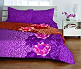 Welhome Luxury Cotton Double Bedsheet with 2 Pillow Covers - Purple