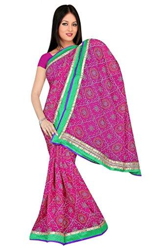 Kala Sanskruti Chiffon And Art Silk Bandhej Design Saree With Work - B00L18R0B2