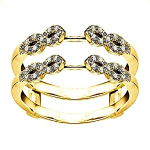 0.38CT Black And White CZ Infinity Ring Guard Enhancer set in Yellow Plated Sterling Silver (0.38CT TWT Black And White CZ)
