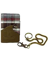 Apki Needs Long Brown Mens Wallet & Beautiful Beautiful Golden Chain Keychain Combo