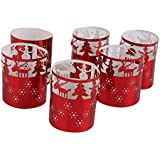 Baoblaze 12 Tea Light Candle Holders Paper Lamp Shades Lanterns Xmas Table Decoration Red