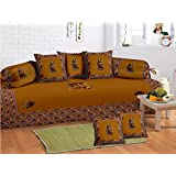 Lali Prints 8 Pcs Ethical Gumar Dance Print Diwan Set With 5 Cushion, 2 Bolster Covers And 1 Bedsheet