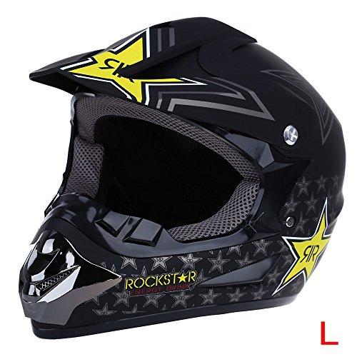 WLT-125 Safe Full Face Motocross Dirt Bike Racing Helmet Breathable Motorbike Mask(MATTE BLACK-STAR L)