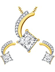 Sukkhi Attractive Gold And Rhodium Plated CZ Pendant Set For Women