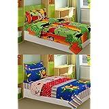 La Elite 100% Cotton Joyful Toons Set Of 2 Single Bedsheet With 2 Pillow Covers ( Each Set 1 Bedsheet + 1 Pillow...