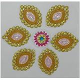 Charu Fashionz Plastic Handcrafted Rangoli (32 Cm X 32 Cm X 0.3 Cm, CER108)