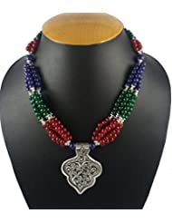Aradhya Designer High Quality German Silver And Multi-Colour Stone Beads Necklace For Women And Girls - B01KU2OQ3O