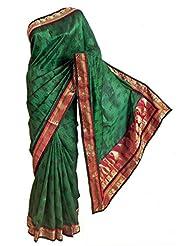 DollsofIndia Black Print On Green Tussar Silk Saree With Zari Border And Pallu - Tussar - Green