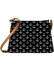 Snoogg Black And White Anchors Womens Carry Around Sling Bags