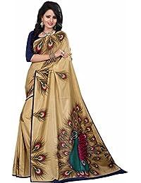 Sidika Bhagalpuri Peacock Print Multicoloured Designer Sarees With Unstitched Blouse Piece(1011)