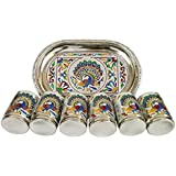 Lavender Craft ROYAL PEACOCK DESIGNED SERVING TRAY WITH MATCHING 6-GLASSES SET- STAINLESS STEEL SILVER MEENAKARI...