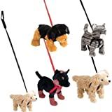 Assorted Pet With Leash Plush, Case Of 12