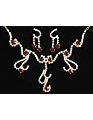 Maroon And White Stone Studded Necklace And Earrings - Stone And Metal