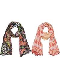 Weavers Villa Set Of 2 Premium Soft Summer Vibrant Coloured Trendy Scarf, Stoles, Dupattas - B01G0FS1KY