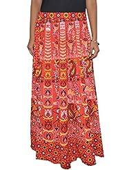 Gurukripa Shopee Women's Cotton Wrap-around Skirt (Red) - B01I1DBSR6