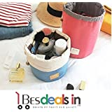 BEST DEALS - Travel Dresser Jumbo Makeup Pouch Polyster Faux Leather Mesh Cosmetics Bag (Assorted Color)