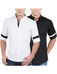 GHPC Men's Solid Casual Slim Fit, Full Sleeves White, Black Shirt(Pack Of 2)