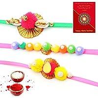 Handcrafted Work Special 3 Pc Rakhi Gift For Brothers Rakhi For Bhaiya Bhabhi
