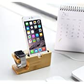 ZMD 2 IN 1 Bamboo WATCH STAND FOR IPHONE STAND IWatch Stand, FOR Apple Watch SAMSUNG GEAR T Docking Station Stock...