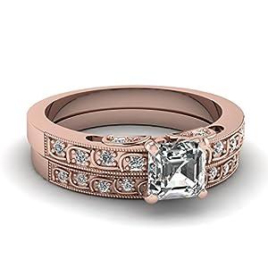 Fascinating Diamonds 0.75 Ct Asscher Cut VVS1-G Diamond Incandescence Engagement Bridal Rings Set 14K GIA