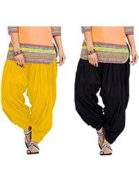 SPV Women's Salwar (SPV_0057A_Black & Yellow_Free Size_Pack Of 2)