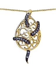 0.70CTW Genuine Tanzanite .925 Sterling Silver 14K Yellow Gold Plated Pendant