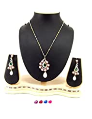 Aria Party Wear Multicolour Pearl Rhinestones Gold & Silver Plated Pendant Necklace Set O160
