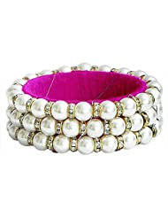 DollsofIndia White Stone Studded And Faux Pearl Bead Bracelet With Magenta Cloth Lining - Beads And Stone - White...