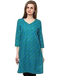 Indi Dori Women's Cotton Blue Blue Green Bubble Printed Kurti