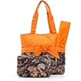 Quilted Orange And Natural Camo Print Monogrammable 3 Piece Diaper Bag With Changing Pad Tote Bag